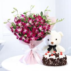 Black Forest Cake With Teddy And Ochids Bouquet For Kolkata