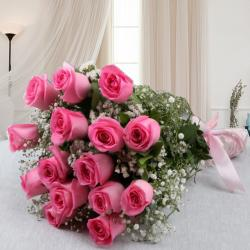 Bouquet of Fifteen Pink Roses