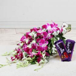 Bouquet of Orchid with Fruit N Nut Chocolate
