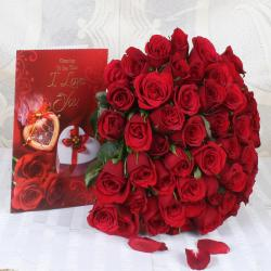 Bouquet Of Romatic Red Roses For Thrissur