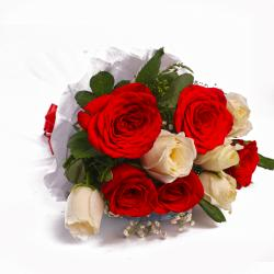 Bouquet of Ten Red And White Rose Tissue Wrapped