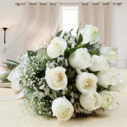 Bouquet of White Roses with Fillers for Thiruvananthapuram