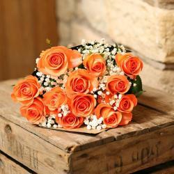 Bright Orange Roses Bouquet For Kolkata