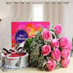Cadbury Celebration Chocolate Pack and Pink Roses with Strawberry Cake for Surat