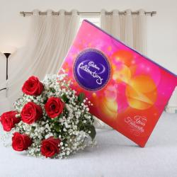 Cadbury Celebration Chocolate Pack with Red Roses Bouquet for Mathura