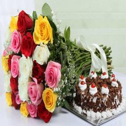 Colorful Roses Bouquet With Black Forest Cake For Varanasi