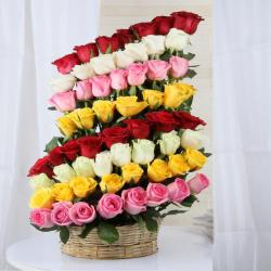 Decorated Layer Mix Roses Arrangement