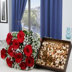 Delightful Red Roses Bouquet With Mixed Dryfruits For Karaikudi