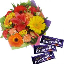 Floral Bouquet With Chocolates For Chennai