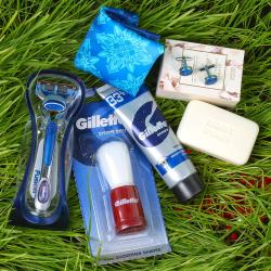 Gillette Combo with Marks Spencer Soap and Polyester Designary Cufflinks Handkerchief for Darjeeling