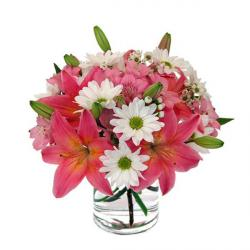 Glass Vase of Lilies and Daises