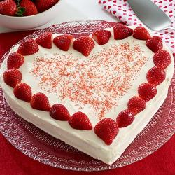 Heart Shape Eggless Strawberry Cheese Cake for Surendranagar