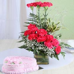 Heart Shape Strawberry Cake With Pink Carnation Arrangement For Chennai