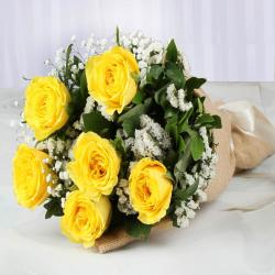 Jute Wrapped Yellow Roses Bouquet