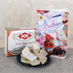 Kaju Katli With Birthday Greeting Card For Chennai