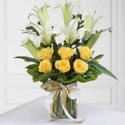 Lilies and Roses in Vase