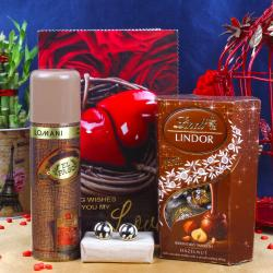 Lomani Deo With Lindor And Love Card Including Golden Frame Black Line Cufflink For Kannur