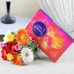 Mix Color of Roses and Gerberas with Celebration Pack for Dewas