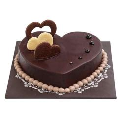 One Kg Eggless Heart Shape Chocolate Cake for Dewas