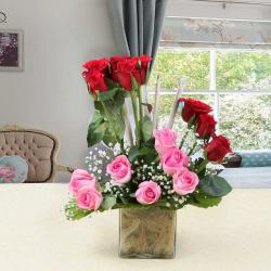 Pink and Red Roses in Glass Vase for Raichur