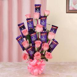 Pretty Pink Cadbury Chocolate Bouquet for Anand
