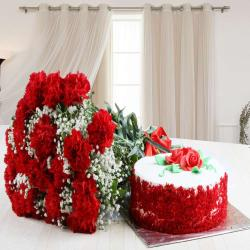 Red Carnation Bouquet with Red Velvet Cake for Dewas