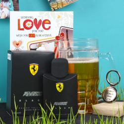 Scuderia Ferrari Black Spray With Freezing Mug Hamper Including Love Key Chain And Card For Bhuj