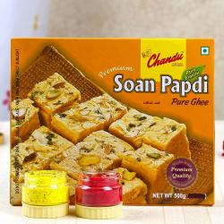 Soan Papdi Sweets with Two Holi Colors