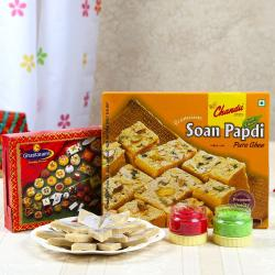 Soan Papdi with Kaju Sweets and Holi Colors