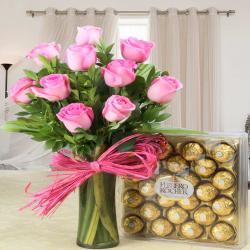 Stunning Ferrero Rocher Chocolate With Pink Roses Hamper For Karaikudi