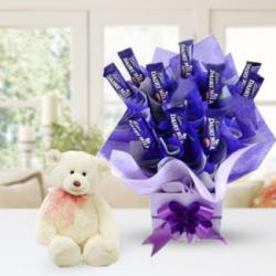 Teddy Bear with Chocolate Arrangement for Moga