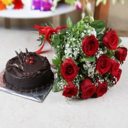 Ten Red Roses with Chocolate Cake for Belgaum