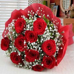 Ten Red Roses Wrapped in Tissue for Moga