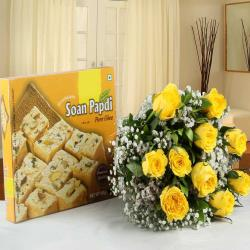 Tissue Wrapped Yellow Roses with Soan Papdi Box for Surat