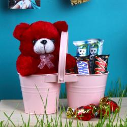 Twin Love Basket Of Teddy And Imported Chocolates For Trivandrum