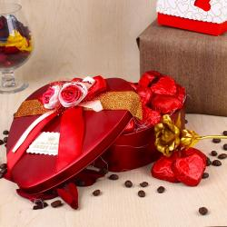 Valentines Hamper Of Heart Shape Chocolates And Golden Rose For Pune