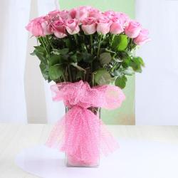 Vase Arrangement of Pink Roses for Vijayawada