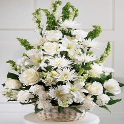 White Flowers Basket