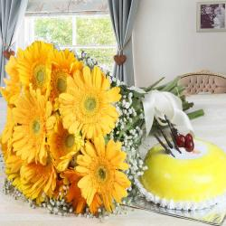 Yellow Gerberas Bouquet and Pineapple Cake for New Delhi